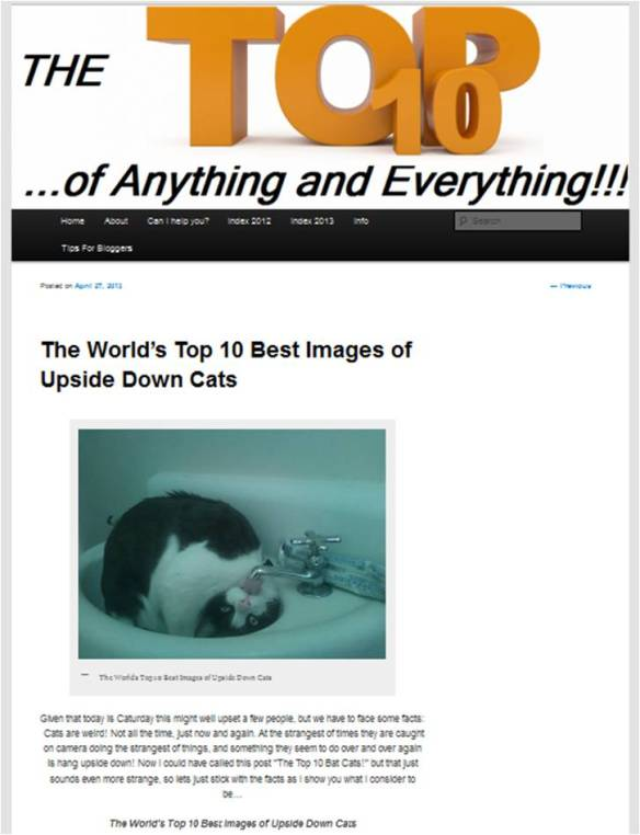 The World's Top Ten Upside Down Cats