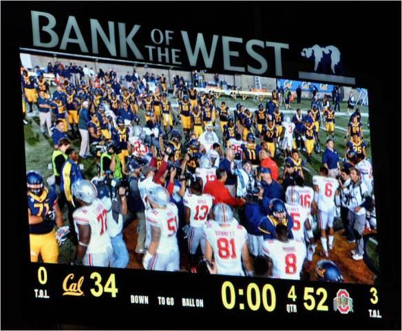 Final Score:  Ohio State 52 -- Cal 34