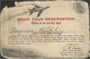 Science-Fiction Book Club Moon Tour Reservation Card