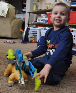 Finnegan with Dinosaur