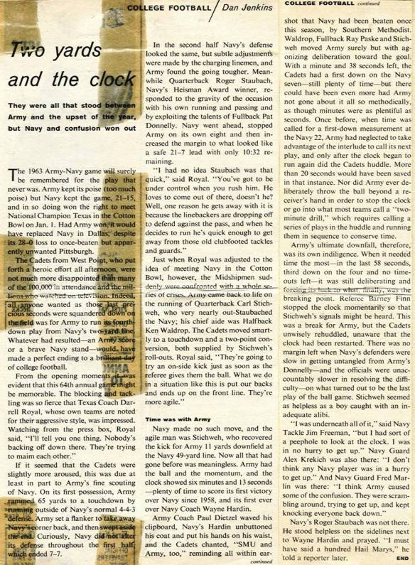 USMA 1967 Army Navy game 1963 Sports Illustrated article