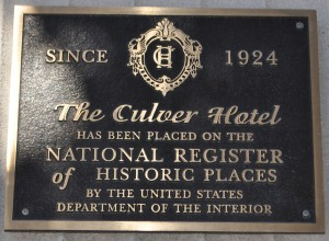 Culver Hotel National Register of Historic Places Placque