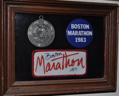 The 1983 Boston Marathon -- Finisher's Medal, Pin & Patch