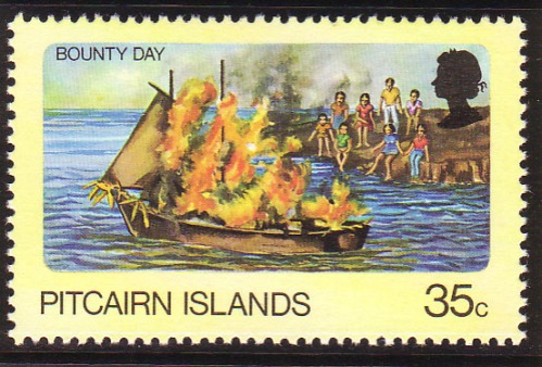 Burning of HMS Bounty in Bounty Bay, Pitcairn Island