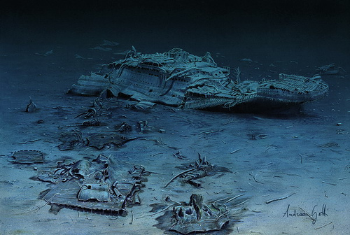Titanic Aft Section on the Ocean Floor