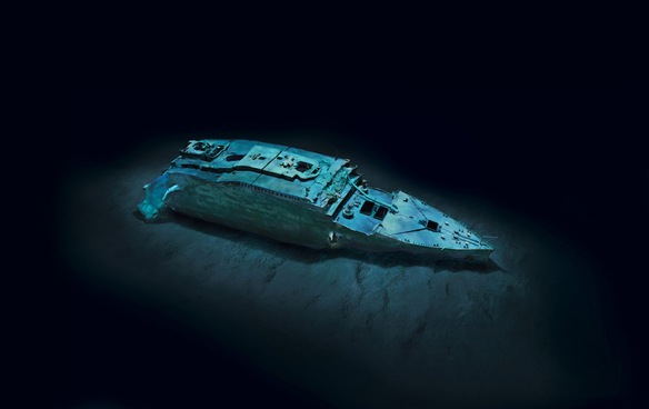 Titanic Bow Section on Ocean Floor