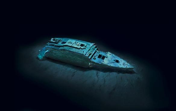 Titanic Bow Section on Ocean Floor