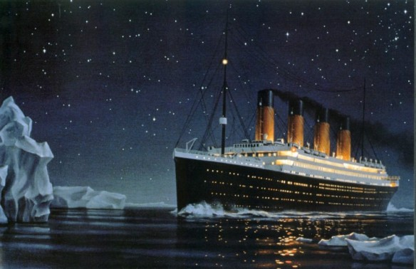 Titanic Sailing Toward the Iceberg