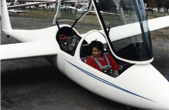 Sandy in Glider with her boss Mike Maxwell circa 1987 (and yes, she flew in it, too)