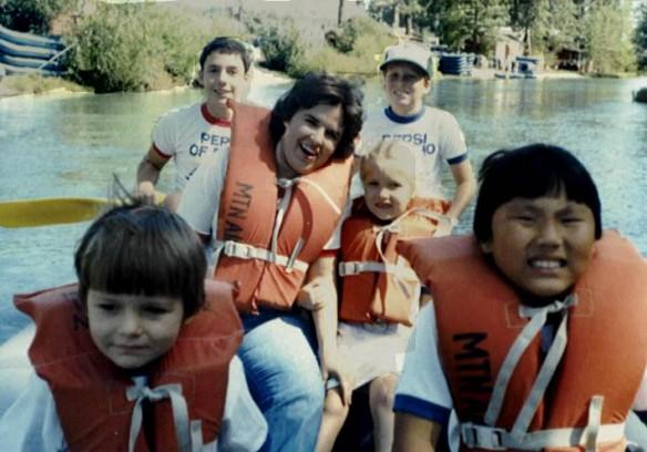 River Rafting on Truckee River, Lake Tahoe CA 9-17-1983  (Lawrence John Reilly III, Douglas Lawrence Reilly, Sandra Kay Douglas Reilly, Larisa Joy Reilly Thomas, Sean Thomas Reilly and Matthew SZA Reilly)