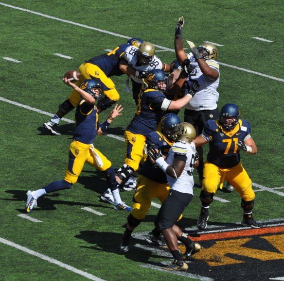 Offensive Line Protecting Goff in the Pocket