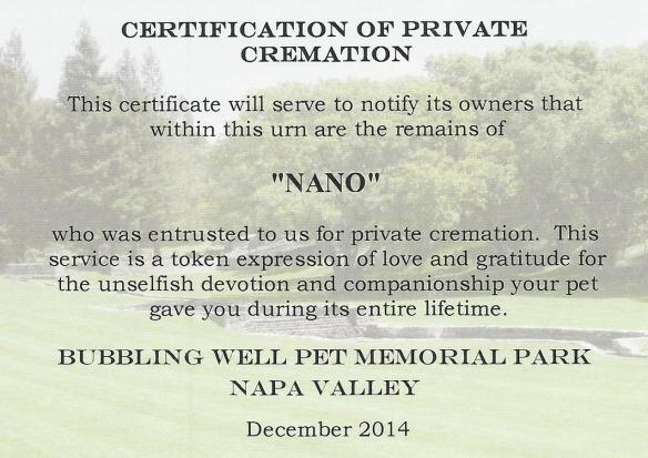Nano Cremation Certification 150809