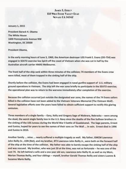 Letter to President Obama -- Page 1