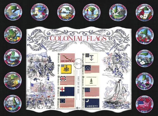 Four Queens 13 State Set with Colonial Flag Stamps