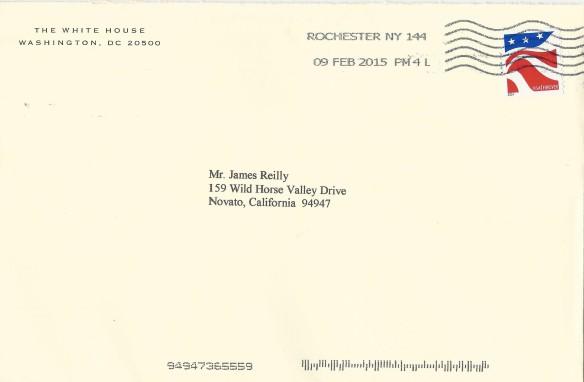 USS Frank E. Evans President Obama Response postmarked 150209 envelope