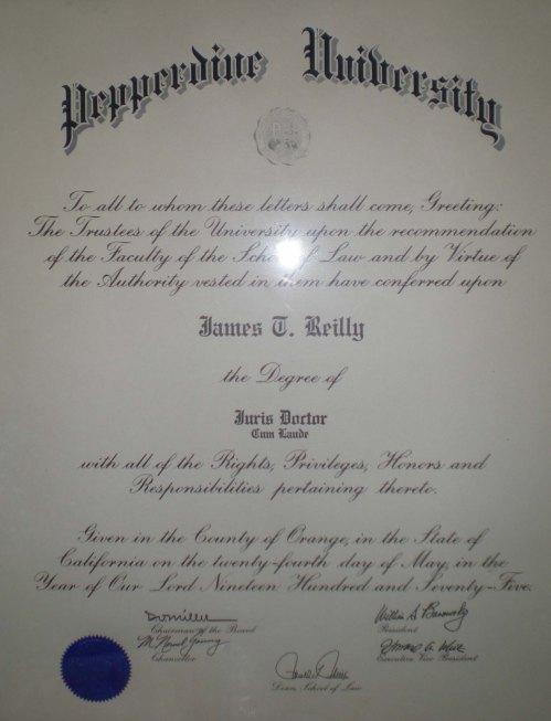 Pepperdfine Univesity School of Law Diploma 750524 Medium