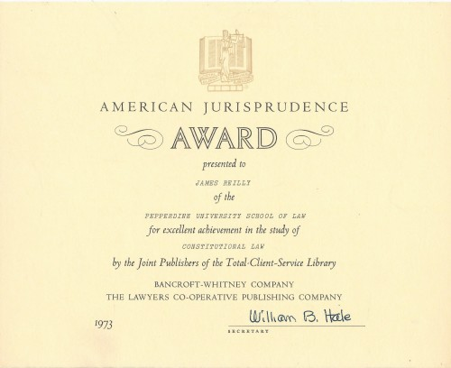 Pepperdine University School of Law American Jurisprudence Award Constitutional Law 1973