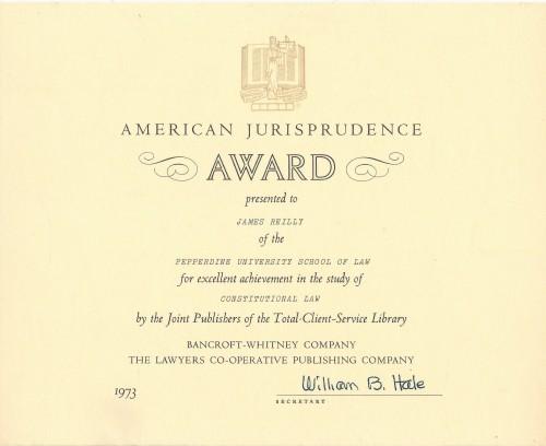 Pepperdine University School of Law American Jurisprudence Award Constitutional Law 1973