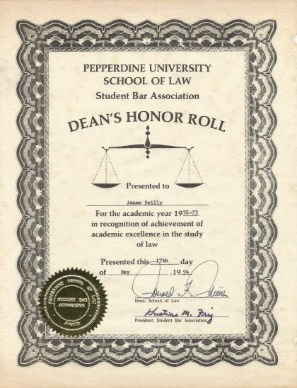 Pepperdine University School of Law Dean's Honor Roll Certificate Academic Year 1972-73