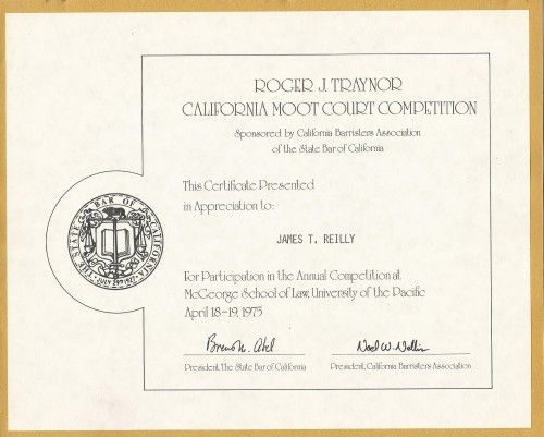 Pepperdine University School of Law Roger J. Traynor California Moot Court Competition Certificate 1975
