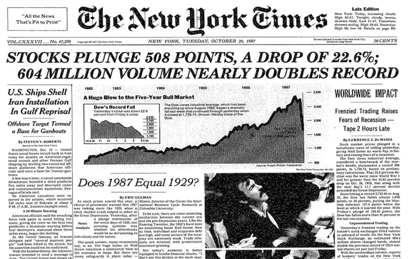 Black Monday Wall Street 1987 New York Times