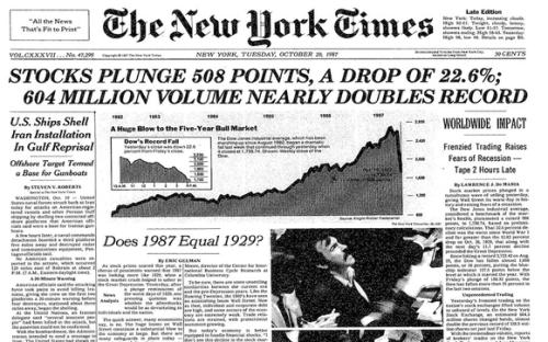 Black Monday Wall Street 1987 New York Times