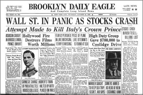 Black Thursday Stockmarket Crash 1929 Brooklyn Daily Eagle
