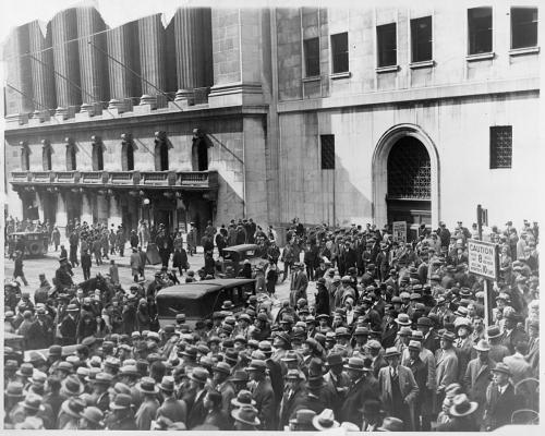 Black Thursday Stockmarket Crash 1929 Crowd Outside New York Stock Exchange