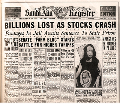 Black Thursday Stockmarket Crash 1929 Santa Ana Register