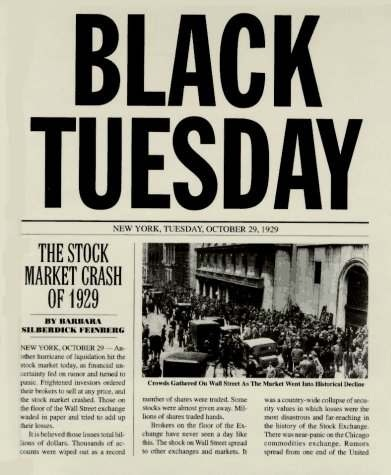 Black Tuesday Stock Market Crash 1929 Newspaper Report