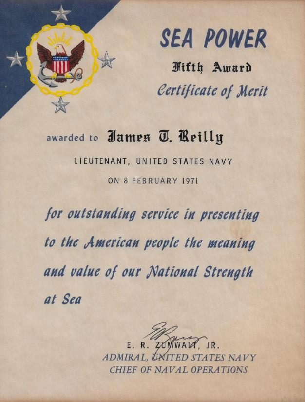 CNO Sea Power Certificate of Merit Fifth Award 710208