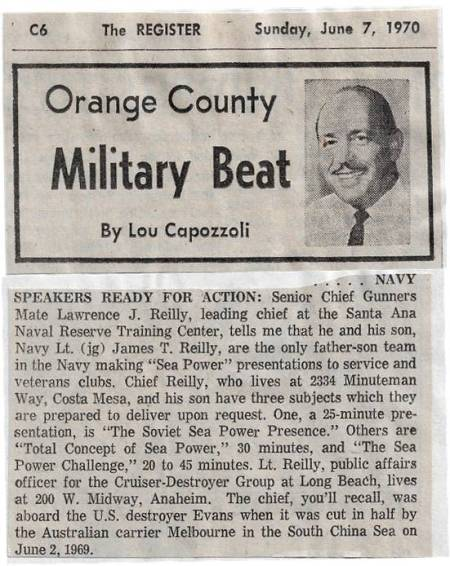 CNO Sea Power News Clipping Santa Ana Register 700607