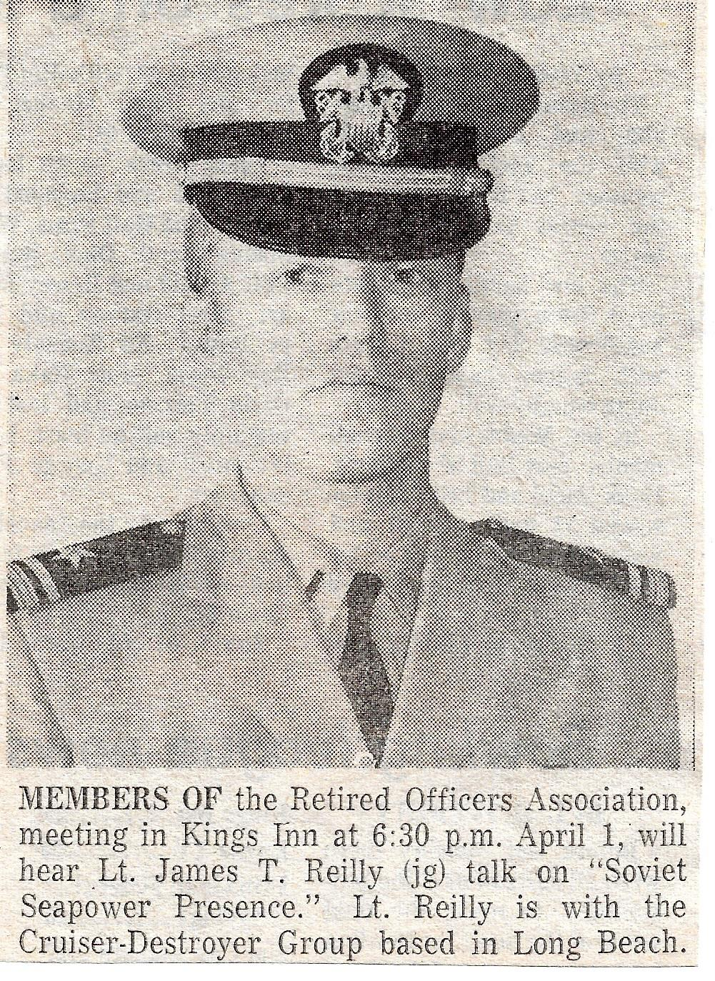 CNO Sea Power News Clipping Sun City CA Retired Officer's Association 700401 First Presentation of Soviet Seapower Presence