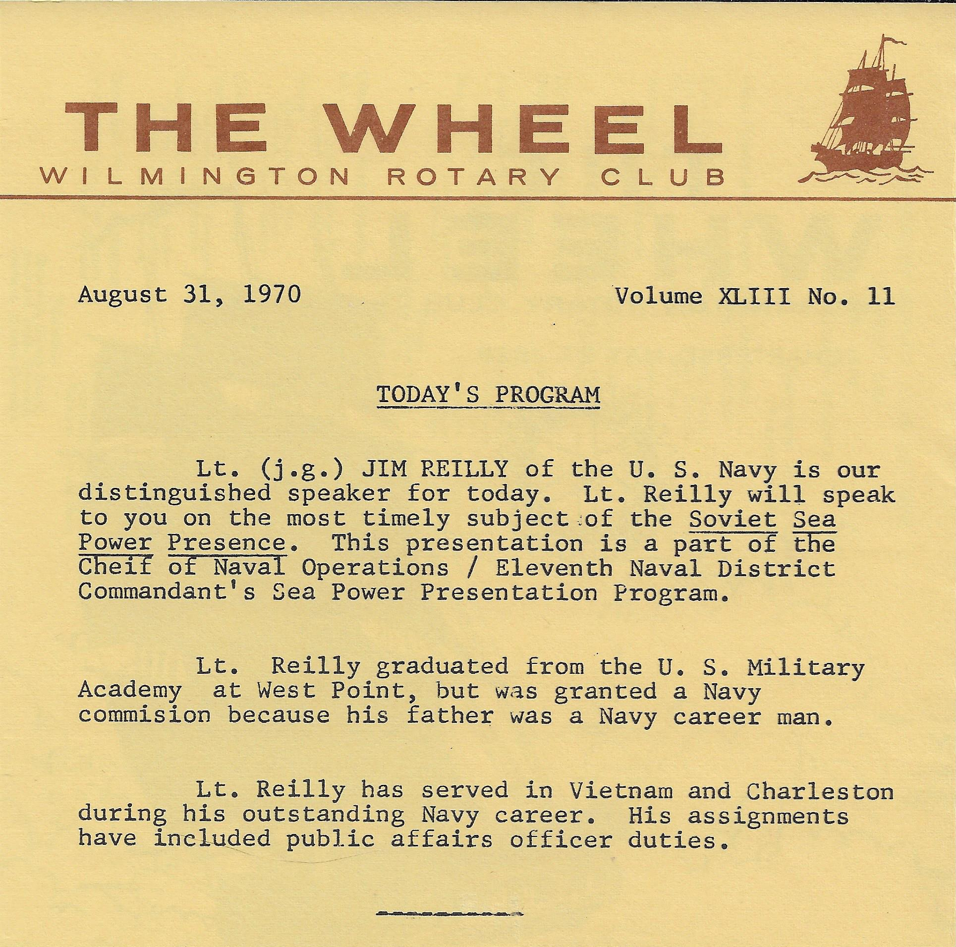 CNO Sea Power Wilmington Rotary Club Program 700831