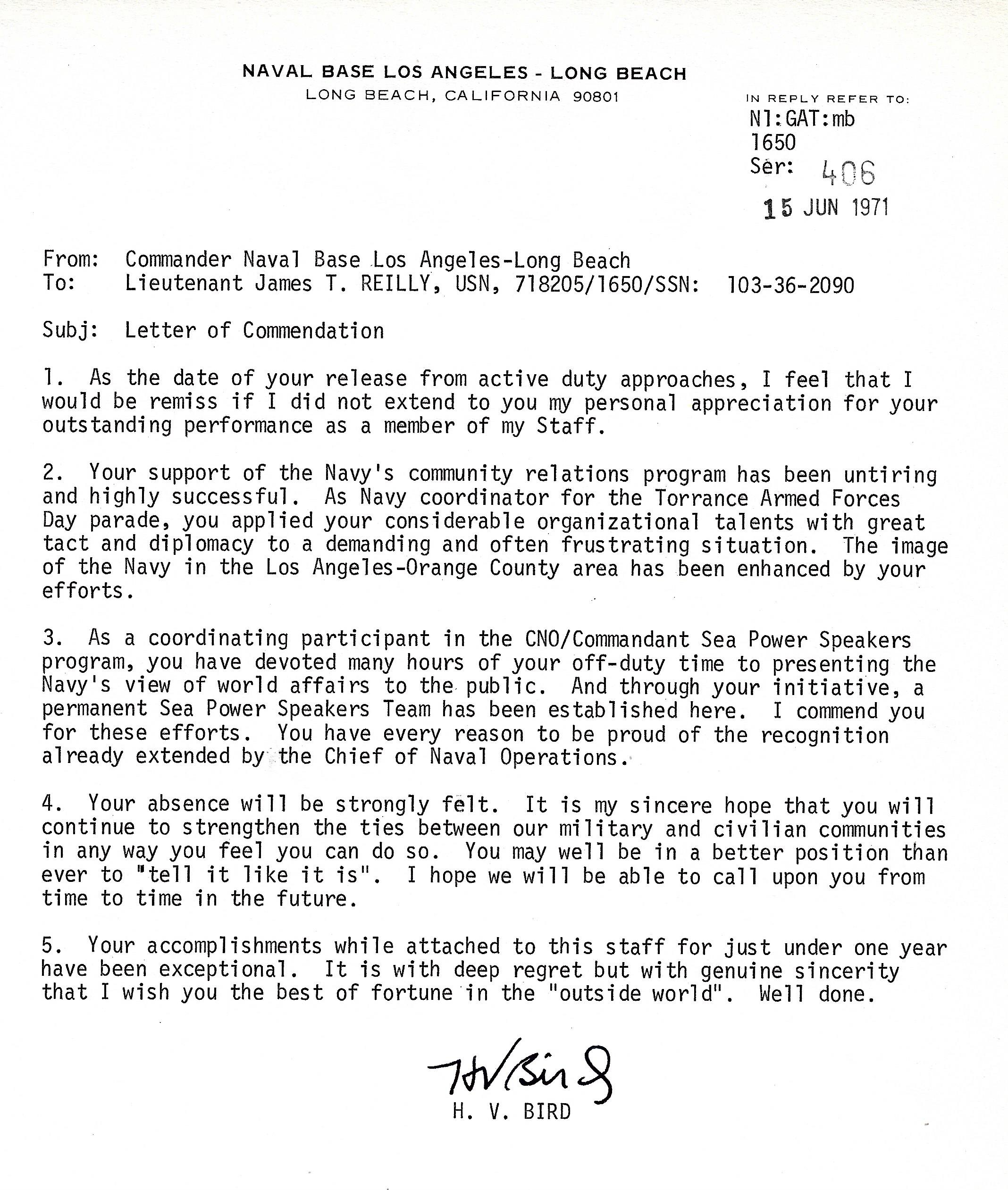 Naval Base Los Angeles - Long Beach Rear Admiral H. V. Bird Letter of Commendation 710615